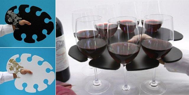 Стеклянный разнос для вина